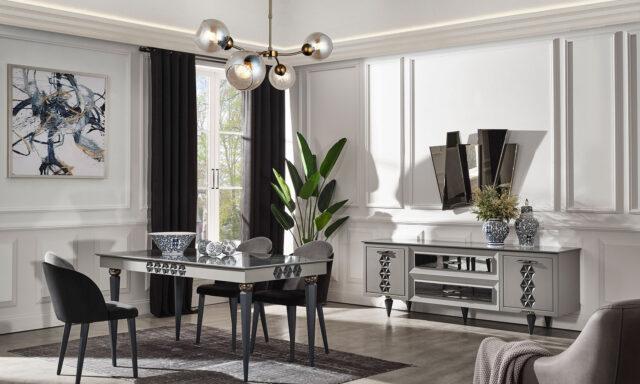Assos gri yemek odası takımı mermer desenli özelliğiyle sizleri bekliyor.