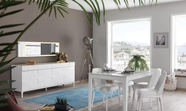 Berrak beyaz yemek odası tasarımını hemen keşfedin.
