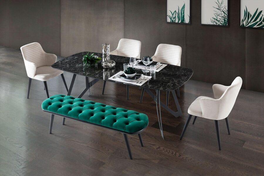 Nero Siyah yemek masası takımı berrak mobilyada sizlerle