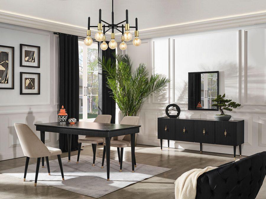 Creo siyah yemek odası takımı şık tasarımı ile sizlerle buluşuyor.